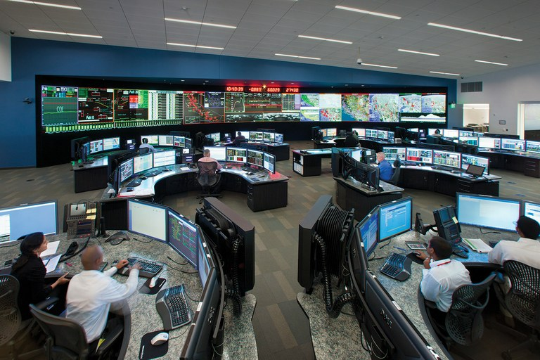 The Alhambra control center of the California Independent System Operator, which manages about 80 percent of the state's grid and the mix of energy going into it.