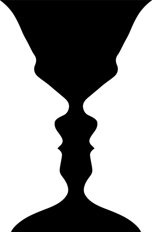 An optical illusion shows the profiles of two men, or a cup.