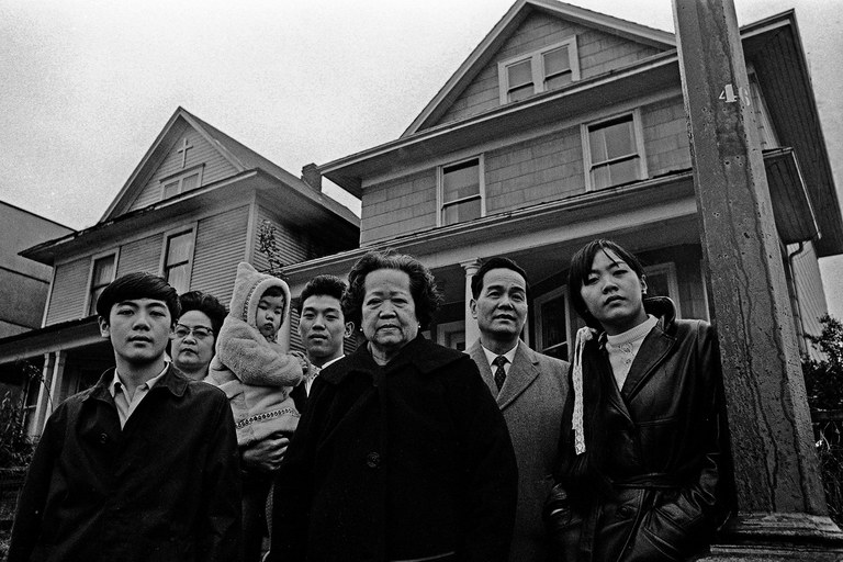 The Chan family in front of 658 Keefer Street, now a historical monument. Mary Lee Chan is second from the left.