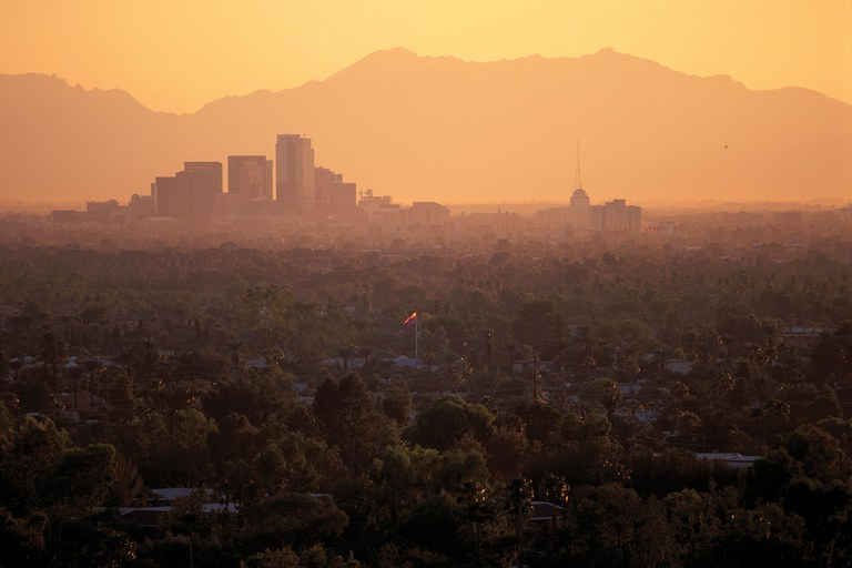 "Heat lingers after sunset in Phoenix, poster child for what scientists call the ""urban heat island"" effect."