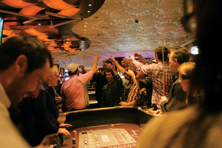 A party plays craps on the Strip.