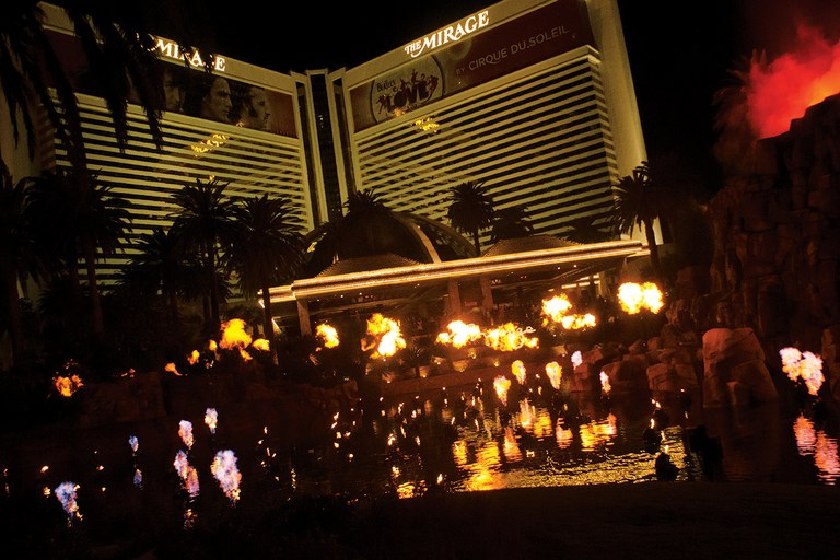 The Mirage Hotel and Casino's volcano show.