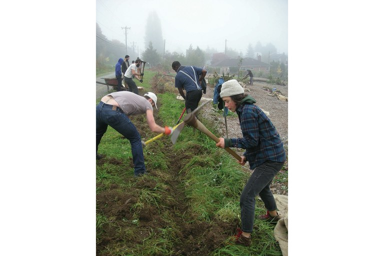 An initial work party at the Beacon Food Forest.