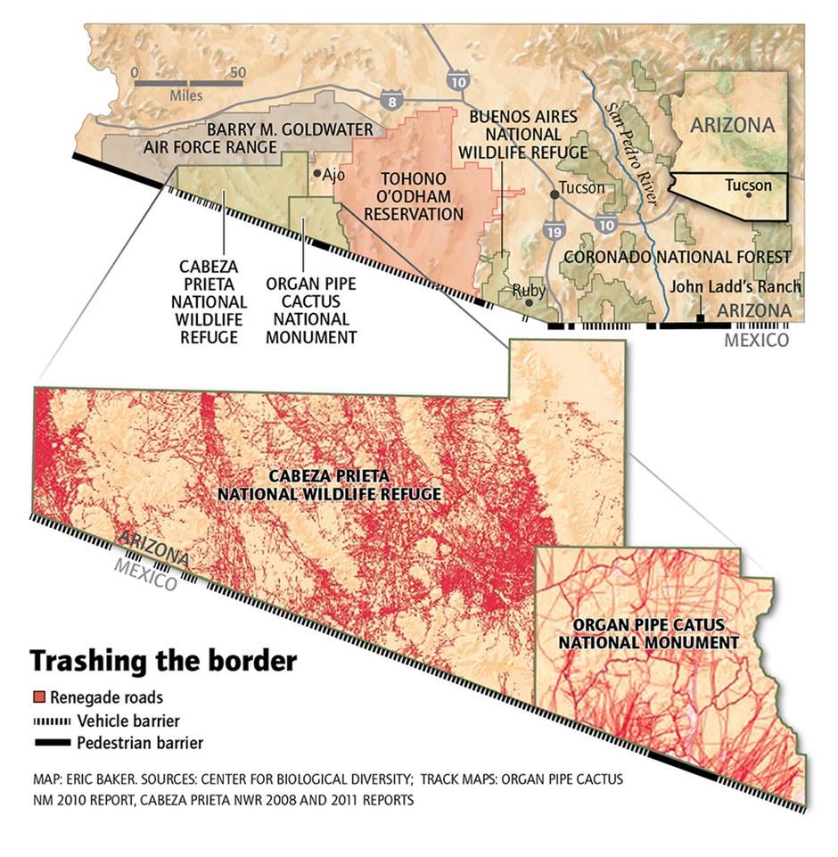 Map: Trashing the border
