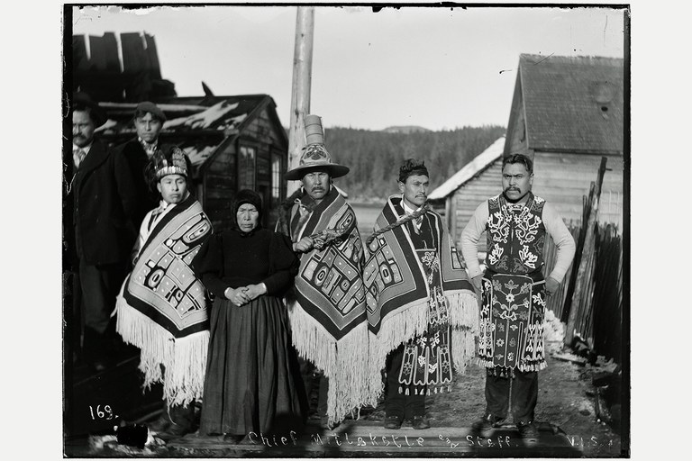 A Basket Bay headman, third from left, with his wife and relatives in Angoon.
