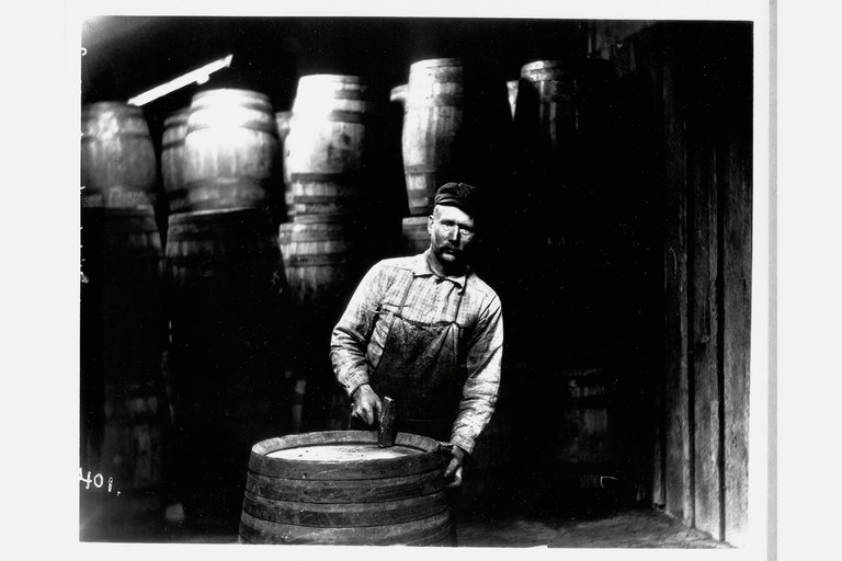 Ole Hadlund making barrels at the Killisnoo herring plant.