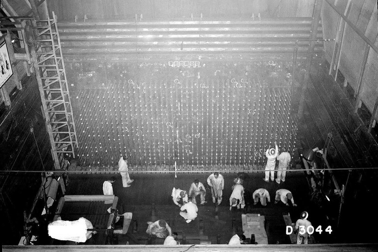 Construction work at Hanford's B Reactor in the 1940s.