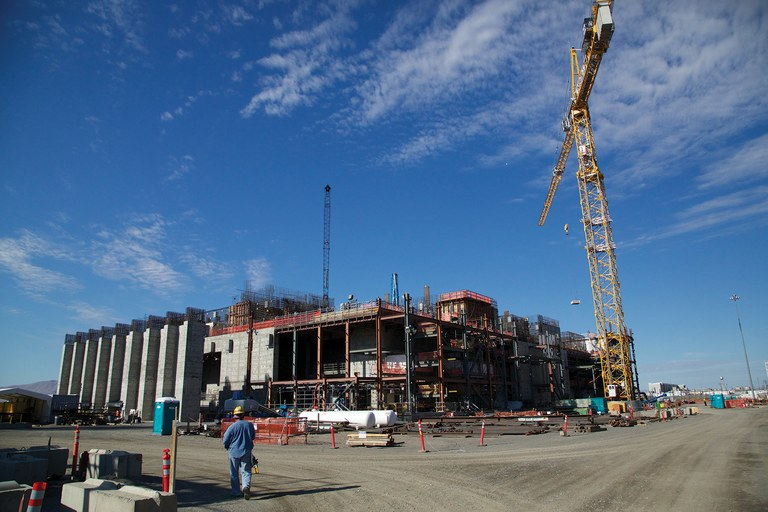 Construction continues on the 65-acre complex that will attempt to treat Hanford's worst nuclear and chemical waste. The 12-story-tall plant is intended to handle the most radioactive waste; the complex will have more than 800,000 linear feet of piping for transporting it.