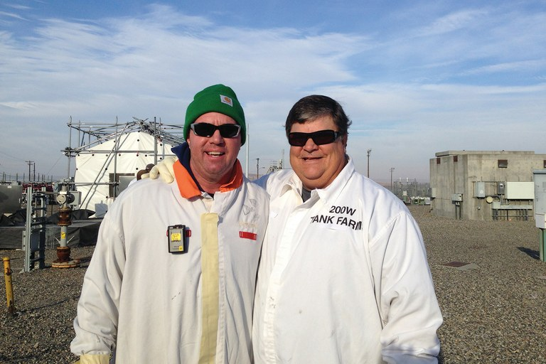 Whistleblower Michael Geffre, right, at the Hanford tank farm just before he resigned last November. With Geffre is longtime coworker – and continuing supporter – Greg Sullivan, who still works as a nuclear process operator at Hanford.