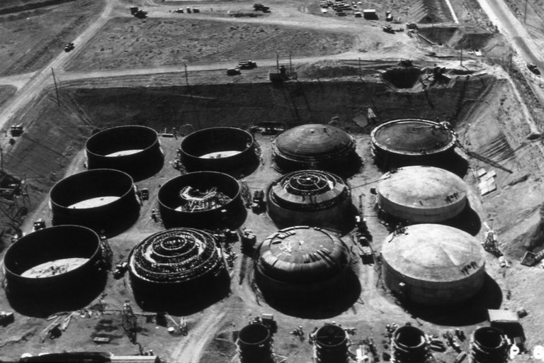 Hanford's B Tank Farm, under construction during World War II. These single-walled tanks are among those that have leaked.