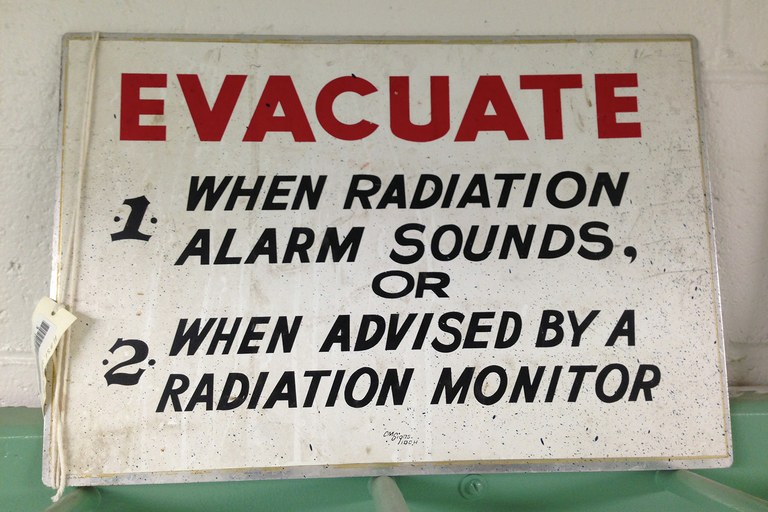 A sign seen during a tour of the Hanford site.