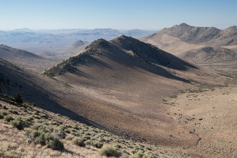 PCT Mile 653: Ridge in shadow, Owens Peak Wilderness, California.