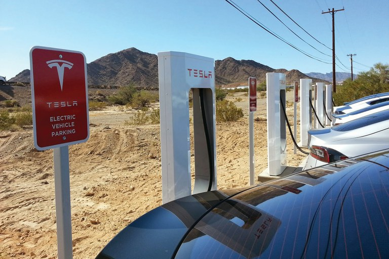 The Supercharger station in Quartzsite, Arizona.