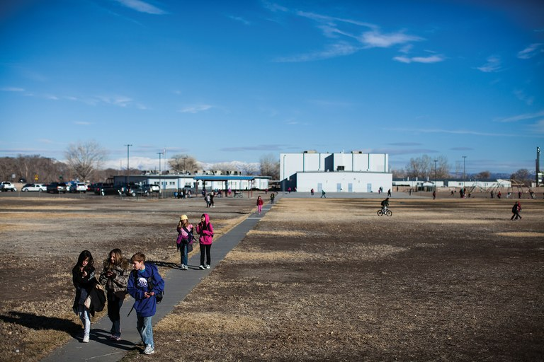 Students trickle out of E.C. Best Elementary School in Fallon, which Ryan Brune had attended since preschool. Attorney Alan Levin has charged that a leak in the Kinder Morgan jet fuel pipeline that runs beside the school contributed to the boy's brain cancer.
