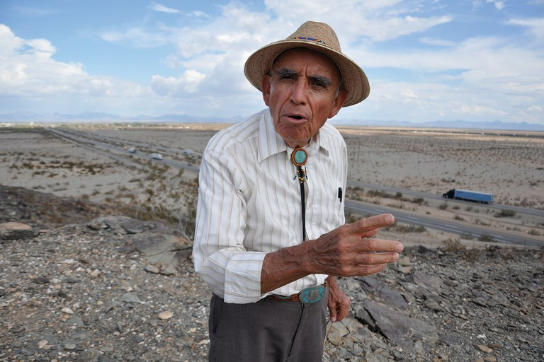 Alfredo Acosta Figueroa in California's Palo Verde Valley, where ancient geoglyphs are threatened by huge solar projects.