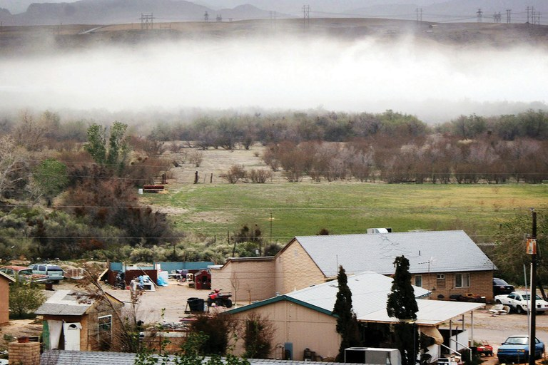 On windy days, a mixture of desert dust and coal ash from the Reid Gardner Generating Station can blanket homes on the Moapa Indian Reservation. t