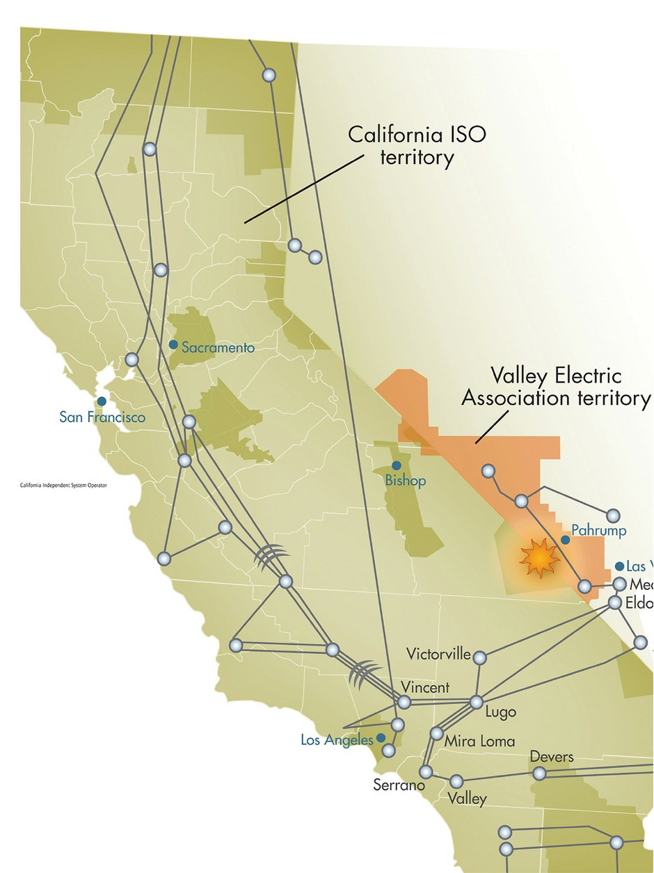 Map: California Independent System Operator territory