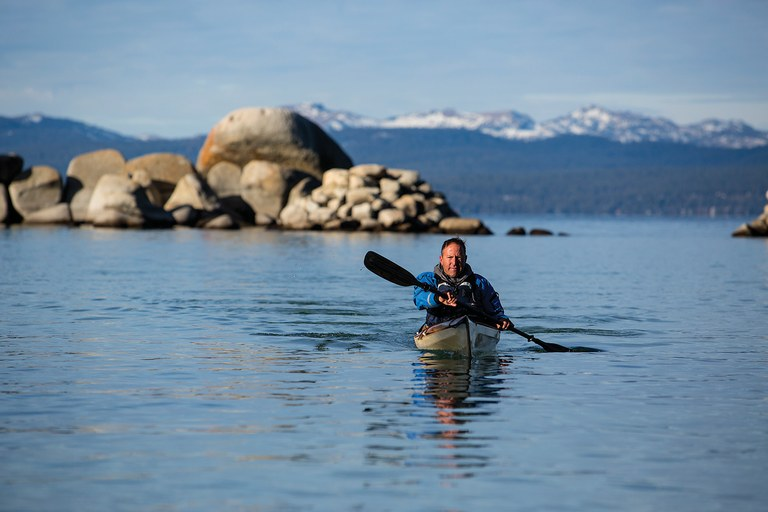 Jon Arnow, paddling on Lake Tahoe, learned the hard way about the special equipment he needs for kayaking.