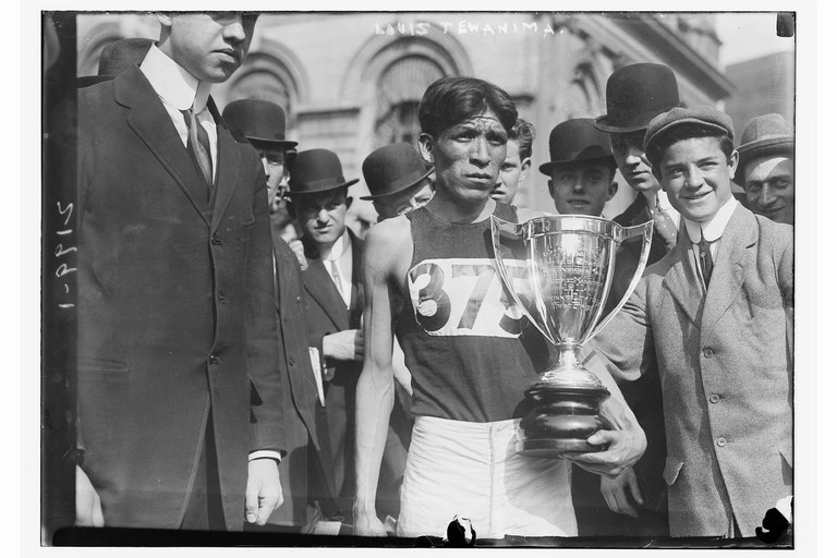 Hopi runner Louis Tewanima won a silver medal in the 1912 Olympics and a marathon in New York City in 1911, above. Today, the Louis Tewanima footrace is held annually in the Hopi village of Shungopavi.