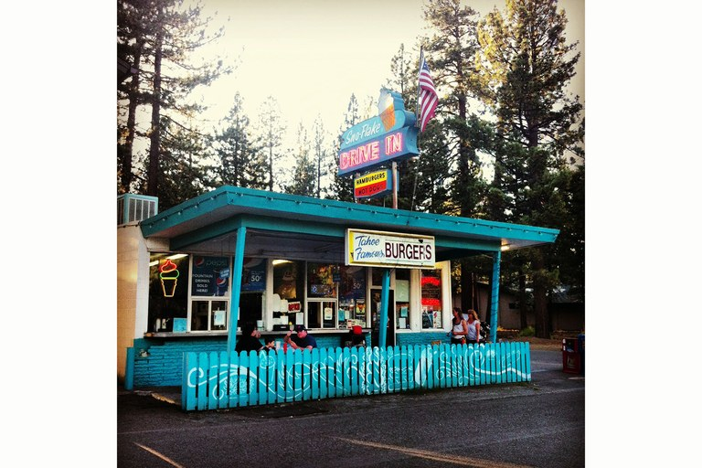 The Sno-Flake Drive In in South Lake Tahoe exhibits the retro feel of the Lost Sierra's numerous frosty shacks.