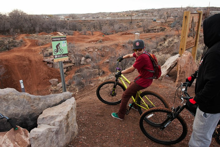 Gallup resident Jeremy Martinez at the top of the drop in at Gallup's new bike park. Trying to shed its rough reputation, the city has adopted cycling in various forms as a development tool.