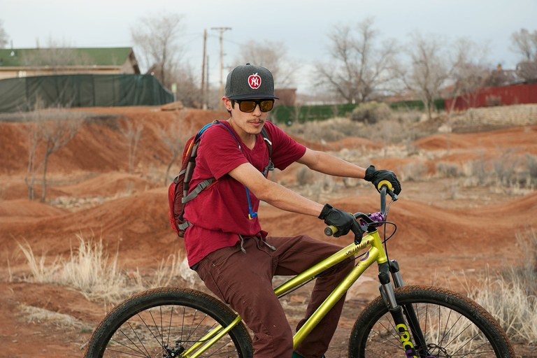 Jeremy Martinez takes a breather at the Gallup Brickyard Bike Park, where he often comes to take a break from his duties as a new dad.