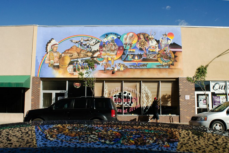 A mural in downtown Gallup reflects the town's Native heritage.