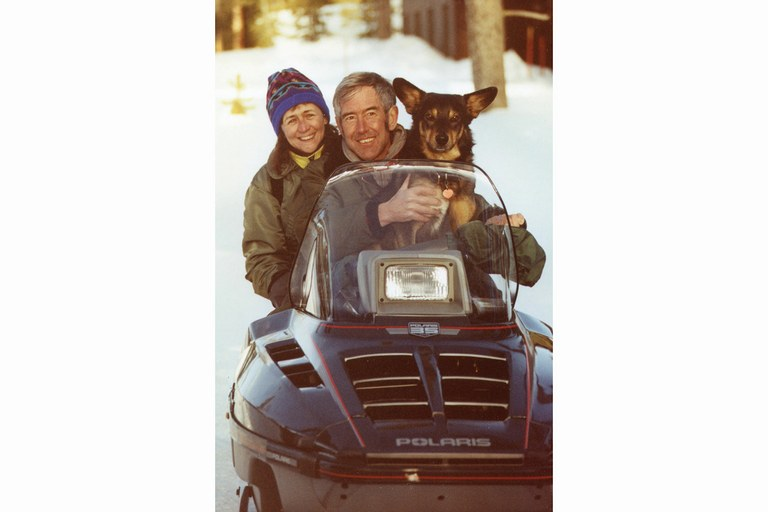 Marjane Ambler, Terry Wehrman and Tucker, in Yellowstone, 1992.