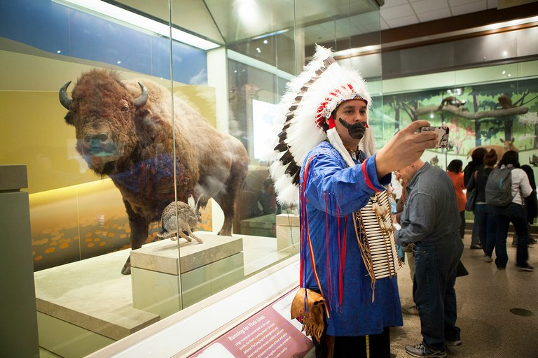"""Social anthropologists went crazy over (this) one,"" performance artist Gregg Deal says of this image of him at the Smithsonian Museum of Natural History, taking a selfie with an animal he ""should be hanging out with on the Plains. It's one of my favorites because it's just so ironic."""