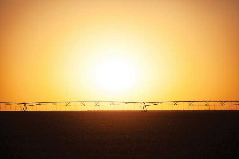 Center-pivot irrigation fed from the Ogallala Aquifer, near Hoxie, Kansas.