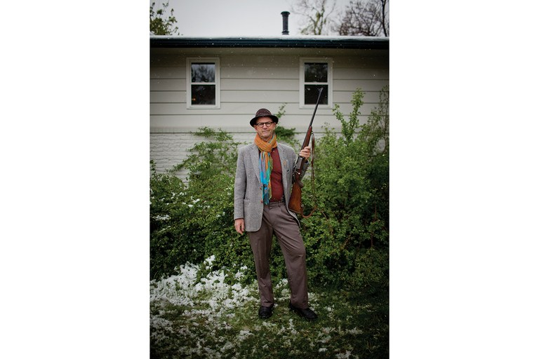 "Self-described ""gun nut"" and Gun Guys author Dan Baum outside his home in liberal Boulder, Colorado."