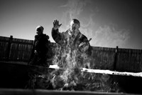 Photographs of open-air cremation in Colorado