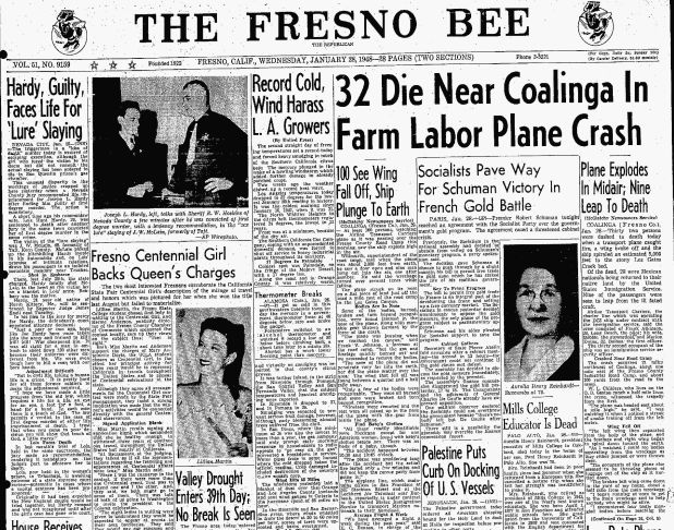 Mexican Citizens  >> The front page of the Fresno Bee after 28 Mexican citizens ...