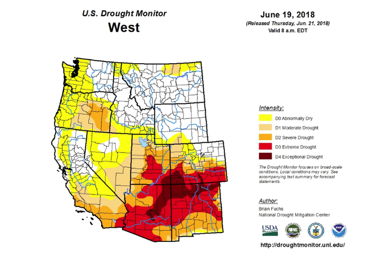 In the Southwest, 'drought' doesn't tell the whole story ... United States Drought Monitor Map on united states national map, united states satellite map, united states road conditions map, united states extreme weather map, united states radar map, united states temperature map, united states annual rainfall map, united states air quality map, united states canada map, united states earthquakes map, united states severe weather map, united states precipitation map, united states uv index map, united states forecast map, united states lightning map, united states surface map, united states wind map,
