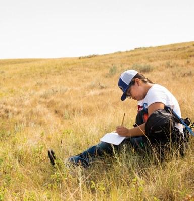 Collecting seeds to restore prairie grasslands