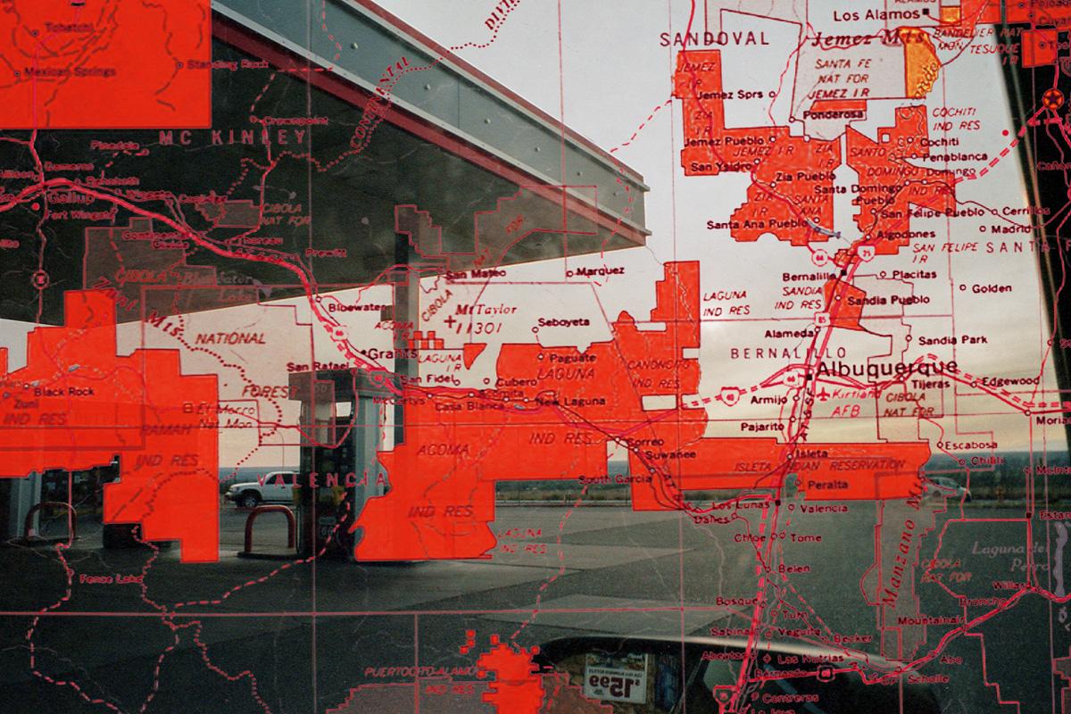 A map of bordertowns over a photo of Albuquerque, New Mexico.