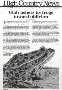 Utah ushers its frogs toward oblivion
