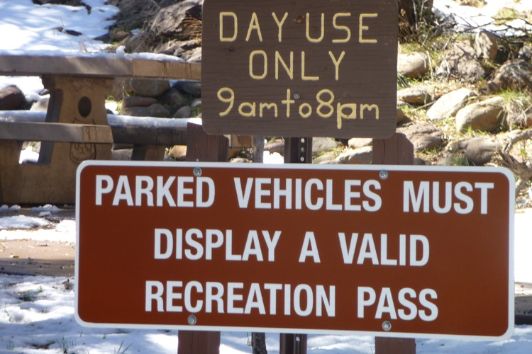 Fee sign at Red Rock recreation area in Coconino National Forest, Arizona